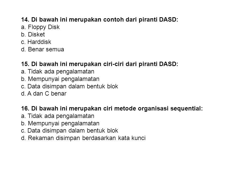 14. Di bawah ini merupakan contoh dari piranti DASD: