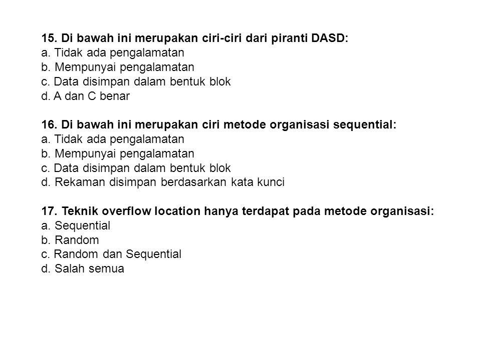 15. Di bawah ini merupakan ciri-ciri dari piranti DASD: