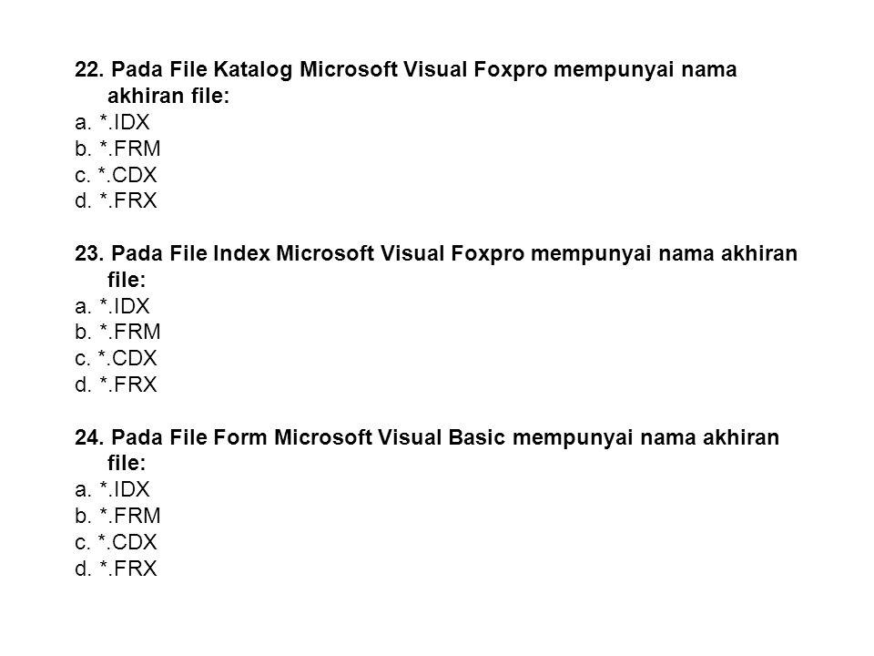 22. Pada File Katalog Microsoft Visual Foxpro mempunyai nama akhiran file:
