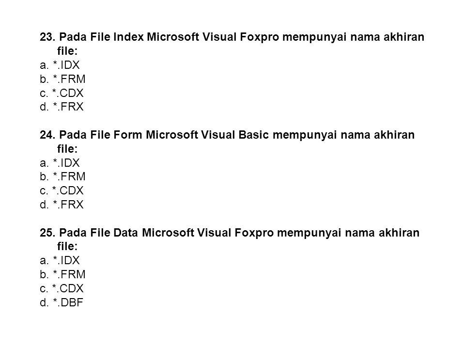 23. Pada File Index Microsoft Visual Foxpro mempunyai nama akhiran file: