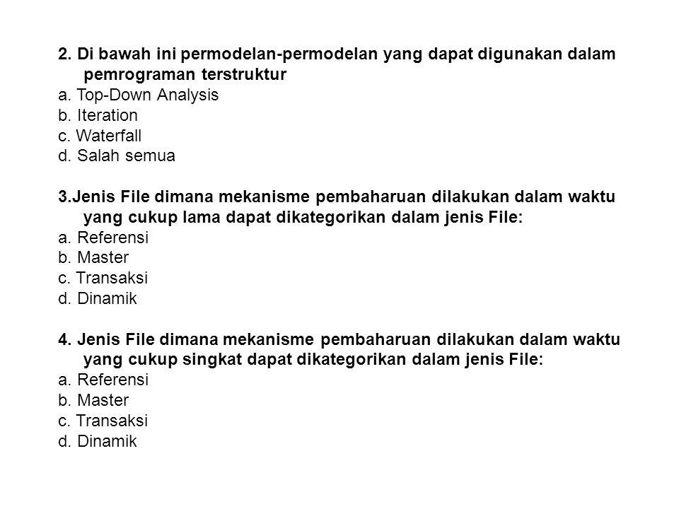 2. Di bawah ini permodelan-permodelan yang dapat digunakan dalam pemrograman terstruktur