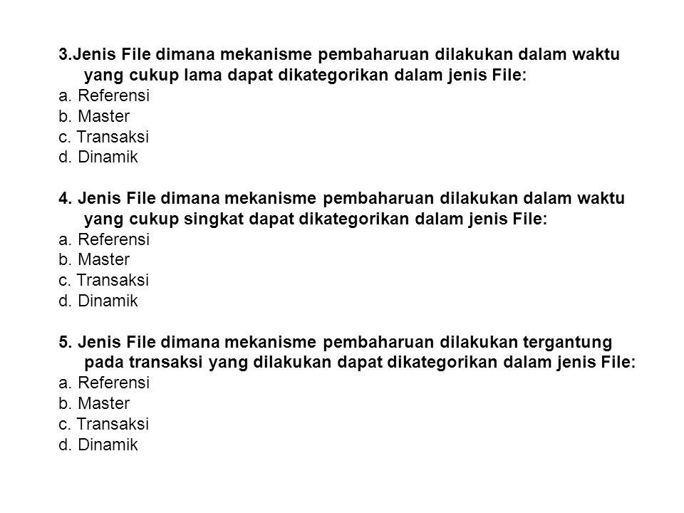 3.Jenis File dimana mekanisme pembaharuan dilakukan dalam waktu yang cukup lama dapat dikategorikan dalam jenis File:
