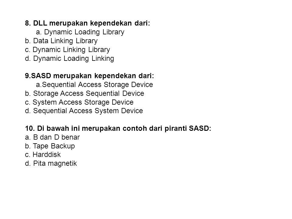 8. DLL merupakan kependekan dari: a. Dynamic Loading Library