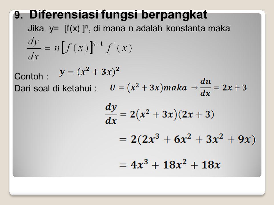 9. Diferensiasi fungsi berpangkat