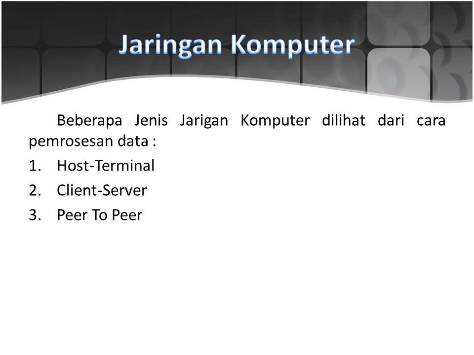 Jaringan Komputer Beberapa Jenis Jarigan Komputer dilihat dari cara pemrosesan data : Host-Terminal.