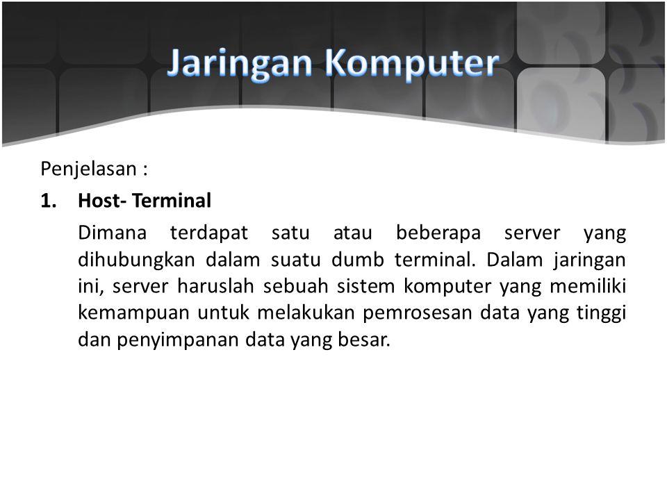 Jaringan Komputer Penjelasan : Host- Terminal