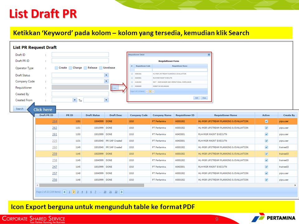 List PR Ketikkan 'keyword' lalu klik search