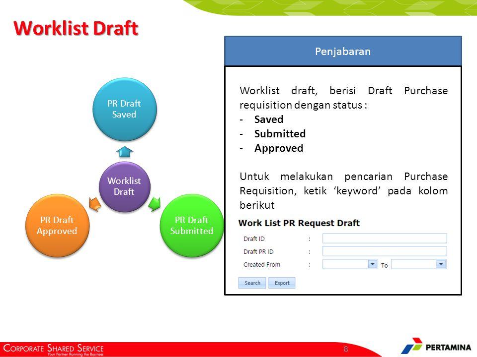 List Draft PR Ketikkan 'Keyword' pada kolom – kolom yang tersedia, kemudian klik Search. Click here.