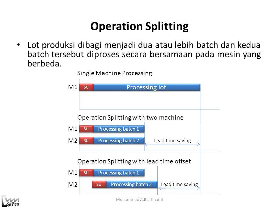 Operation Splitting Lot produksi dibagi menjadi dua atau lebih batch dan kedua batch tersebut diproses secara bersamaan pada mesin yang berbeda.