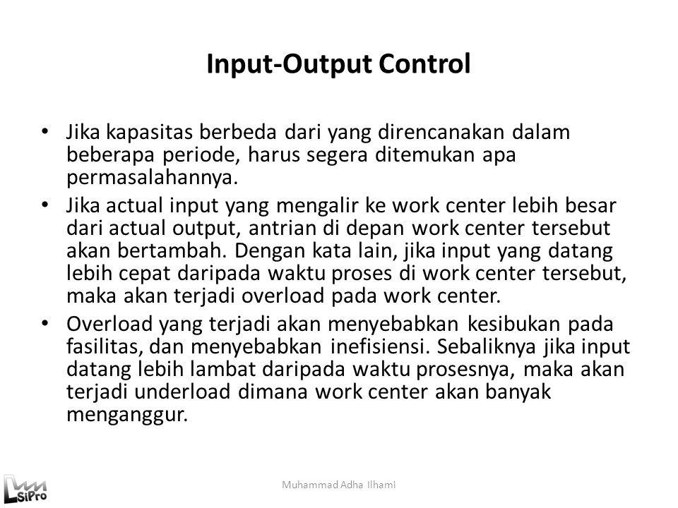 Input-Output Control Jika kapasitas berbeda dari yang direncanakan dalam beberapa periode, harus segera ditemukan apa permasalahannya.