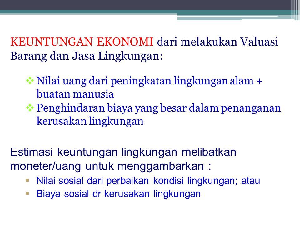 KEUNTUNGAN EKONOMI dari melakukan Valuasi Barang dan Jasa Lingkungan: