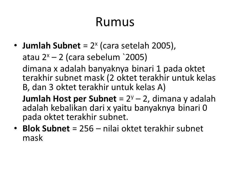 Rumus Jumlah Subnet = 2x (cara setelah 2005),