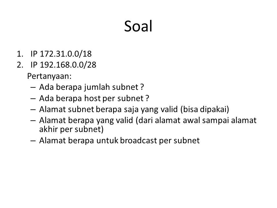 Soal IP 172.31.0.0/18 IP 192.168.0.0/28 Pertanyaan: