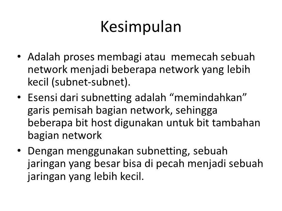 Kesimpulan Adalah proses membagi atau memecah sebuah network menjadi beberapa network yang lebih kecil (subnet-subnet).