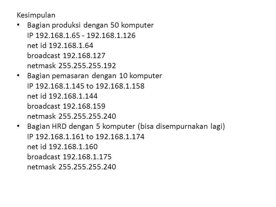 Kesimpulan Bagian produksi dengan 50 komputer. IP 192.168.1.65 - 192.168.1.126. net id 192.168.1.64.