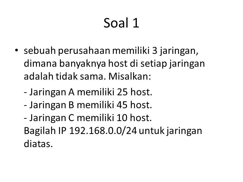 Soal 1 sebuah perusahaan memiliki 3 jaringan, dimana banyaknya host di setiap jaringan adalah tidak sama. Misalkan: