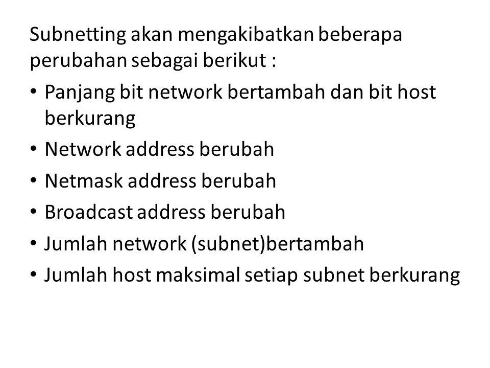 Subnetting akan mengakibatkan beberapa perubahan sebagai berikut :
