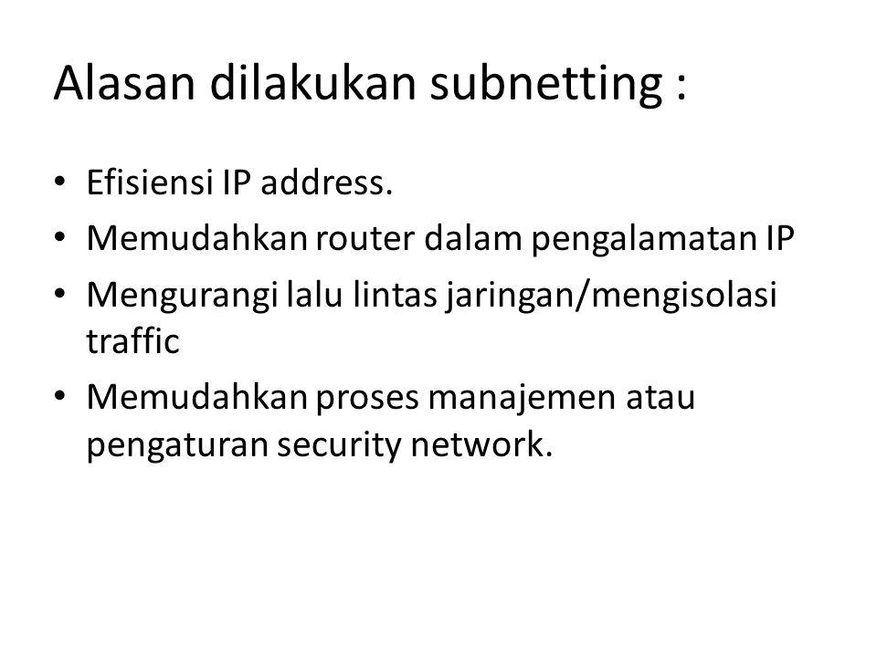 Alasan dilakukan subnetting :