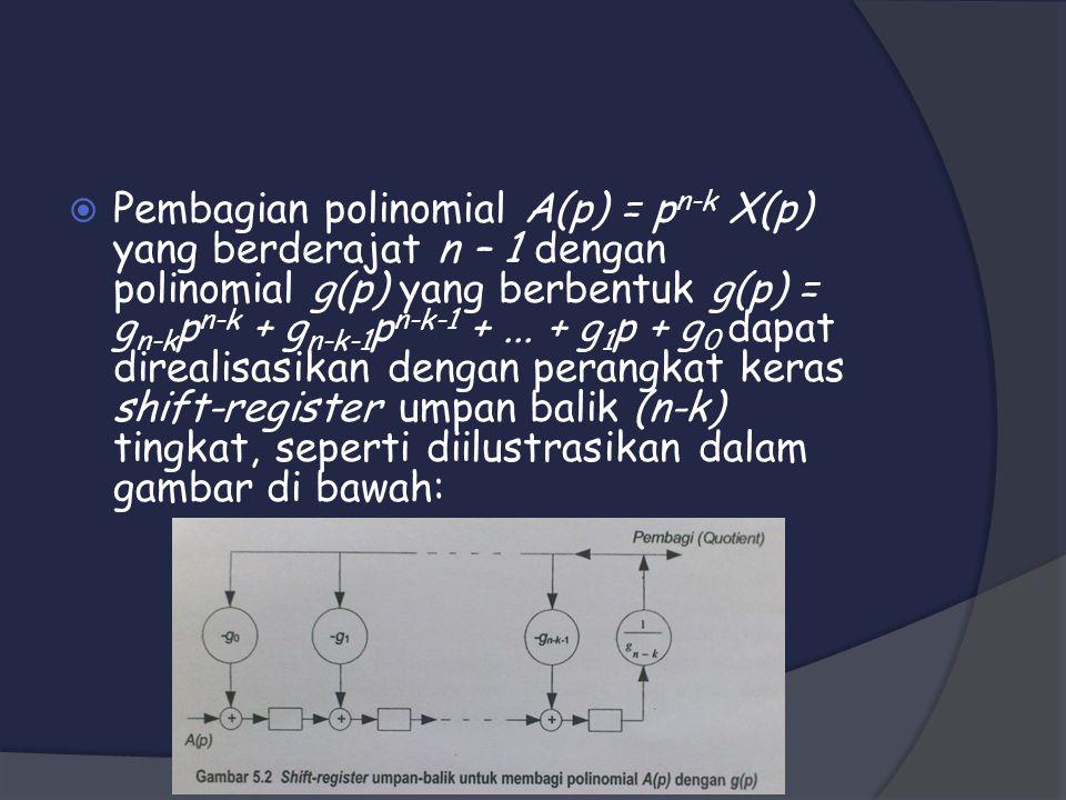 Pembagian polinomial A(p) = pn-k X(p) yang berderajat n – 1 dengan polinomial g(p) yang berbentuk g(p) = gn-kpn-k + gn-k-1pn-k-1 + ...