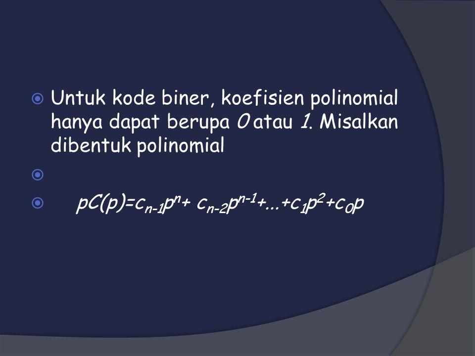 Untuk kode biner, koefisien polinomial hanya dapat berupa 0 atau 1