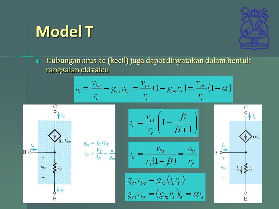 Model T Hubungan arus ac (kecil) juga dapat dinyatakan dalam bentuk rangkaian ekivalen