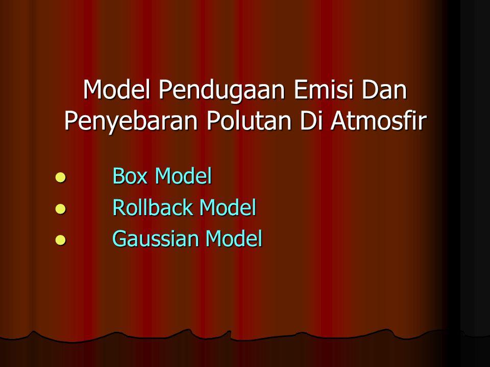 Model Pendugaan Emisi Dan Penyebaran Polutan Di Atmosfir