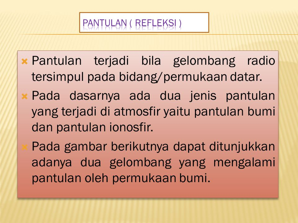 Pantulan ( Refleksi ) Pantulan terjadi bila gelombang radio tersimpul pada bidang/permukaan datar.