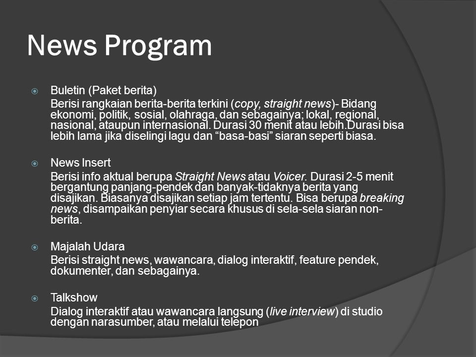 News Program Buletin (Paket berita)