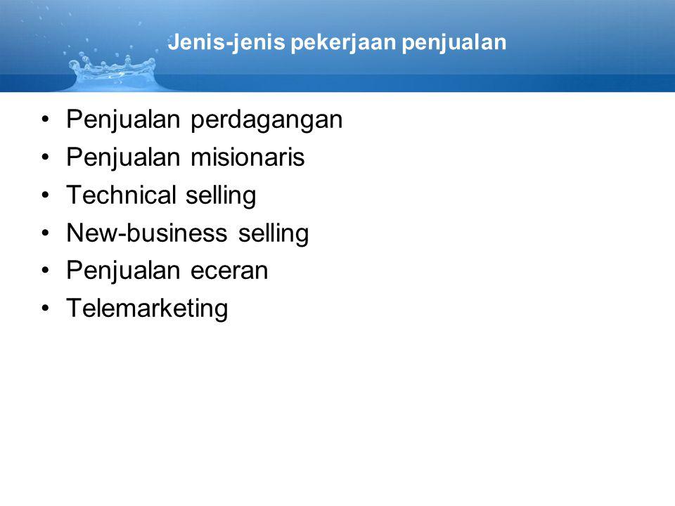 Jenis-jenis pekerjaan penjualan