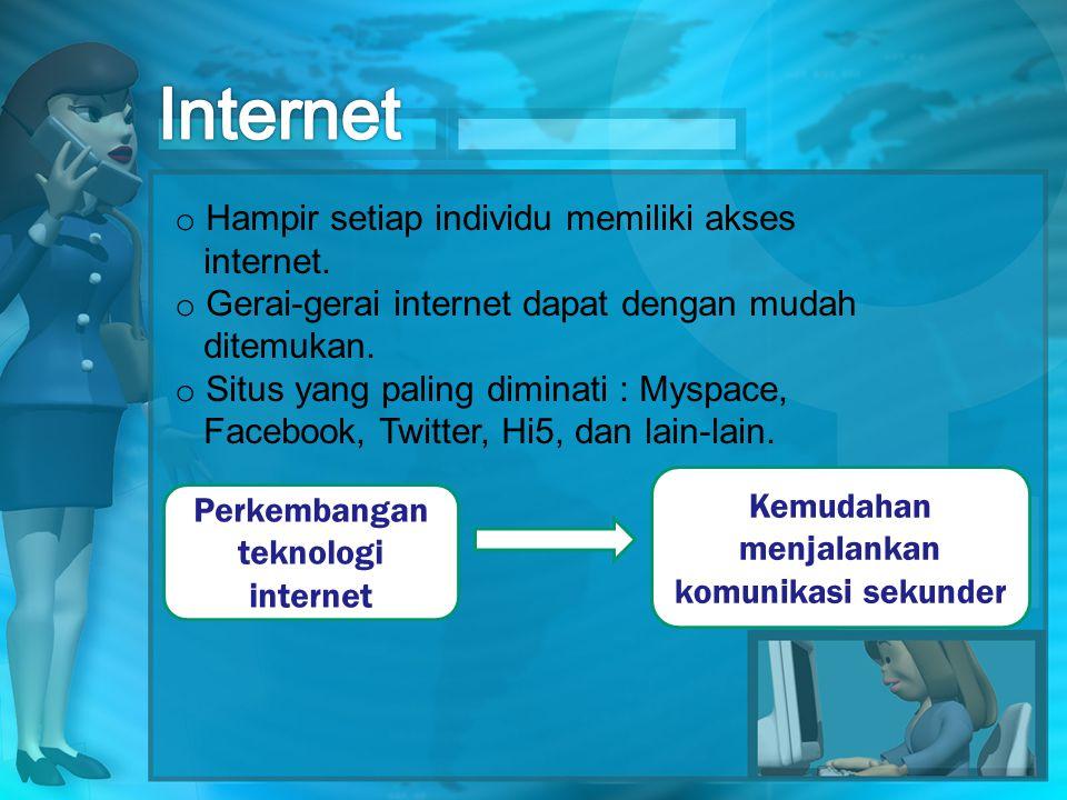 Internet Hampir setiap individu memiliki akses internet.