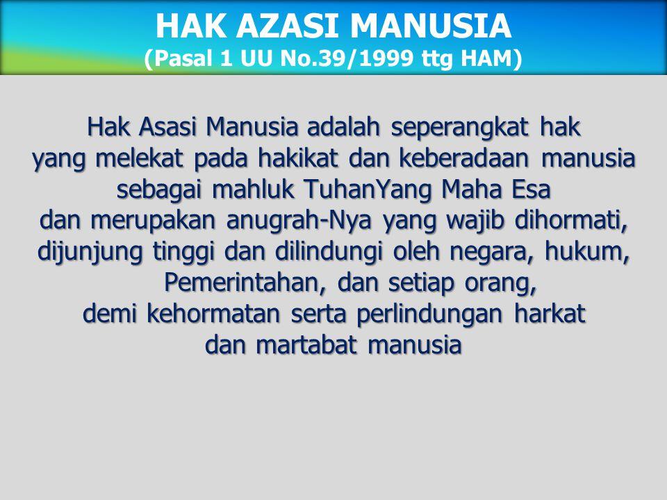 HAK AZASI MANUSIA (Pasal 1 UU No.39/1999 ttg HAM)