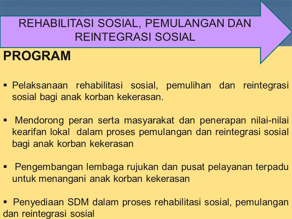 REHABILITASI SOSIAL, PEMULANGAN DAN REINTEGRASI SOSIAL