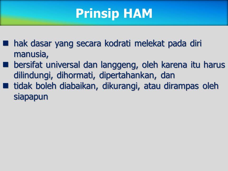 Prinsip HAM hak dasar yang secara kodrati melekat pada diri manusia,