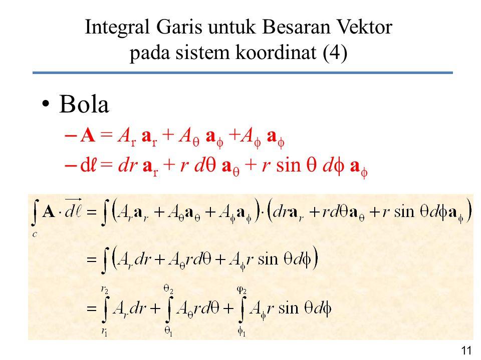 Integral Garis untuk Besaran Vektor pada sistem koordinat (4)