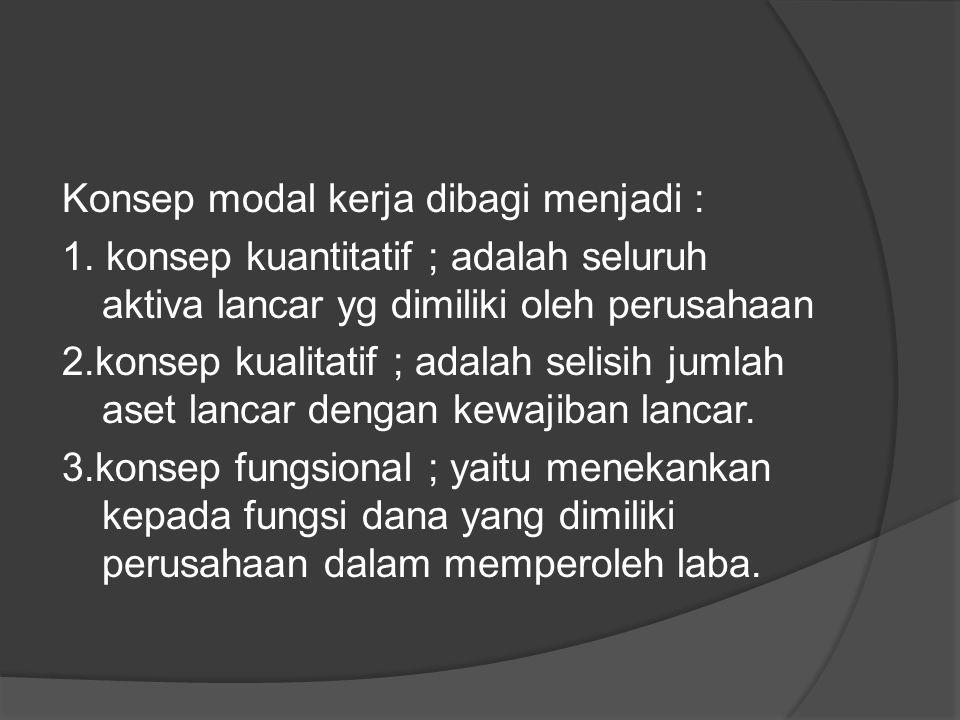 Konsep modal kerja dibagi menjadi : 1