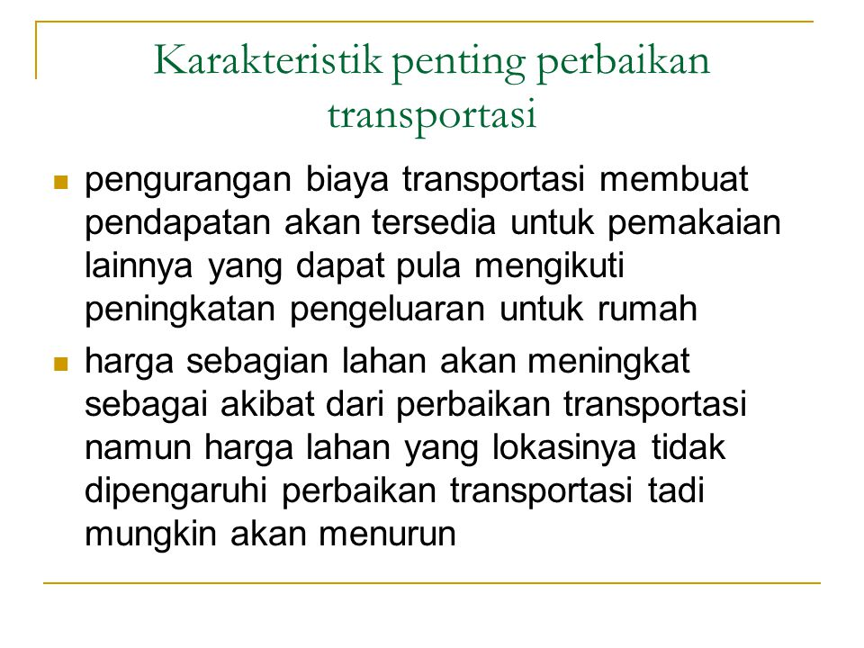 Karakteristik penting perbaikan transportasi