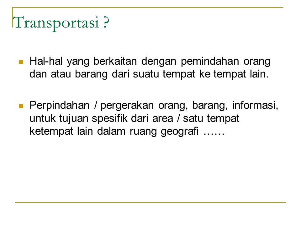 Transportasi Hal-hal yang berkaitan dengan pemindahan orang dan atau barang dari suatu tempat ke tempat lain.