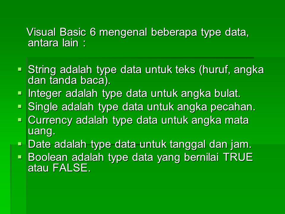 Visual Basic 6 mengenal beberapa type data, antara lain :