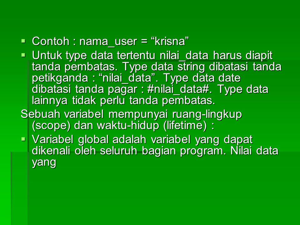 Contoh : nama_user = krisna
