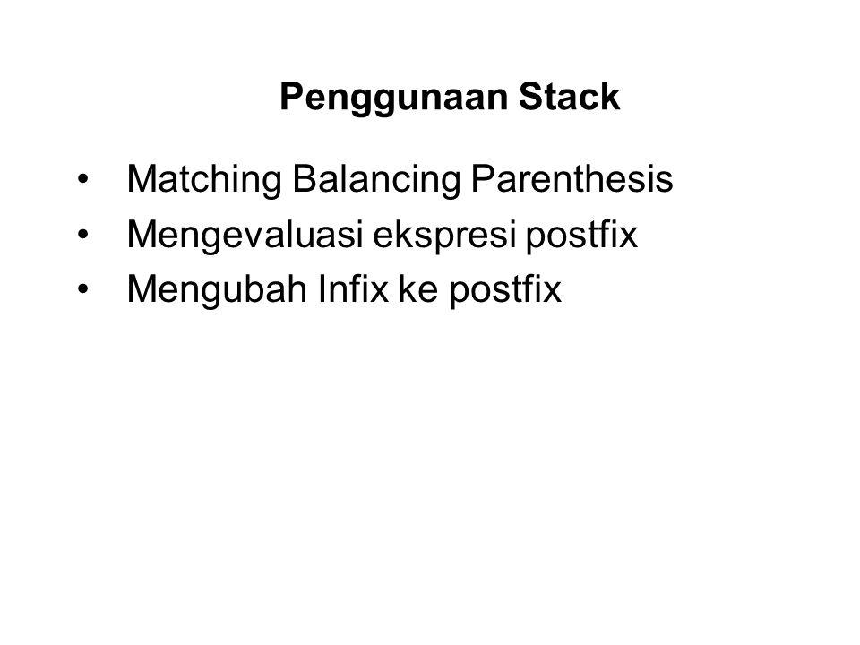 Penggunaan Stack Matching Balancing Parenthesis. Mengevaluasi ekspresi postfix.