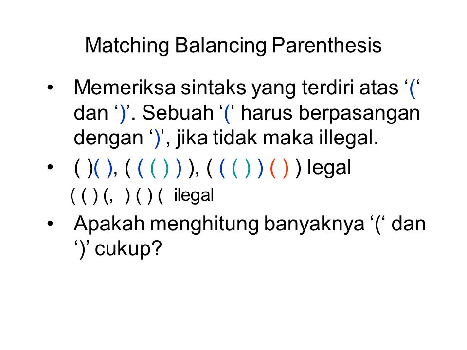 Matching Balancing Parenthesis