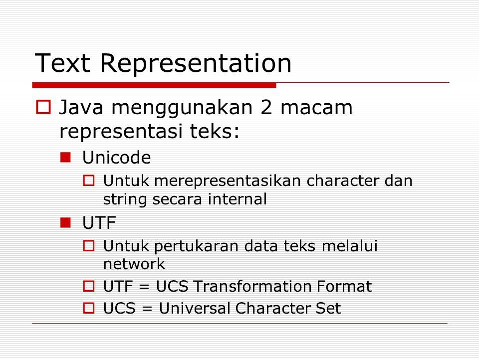 Text Representation Java menggunakan 2 macam representasi teks: