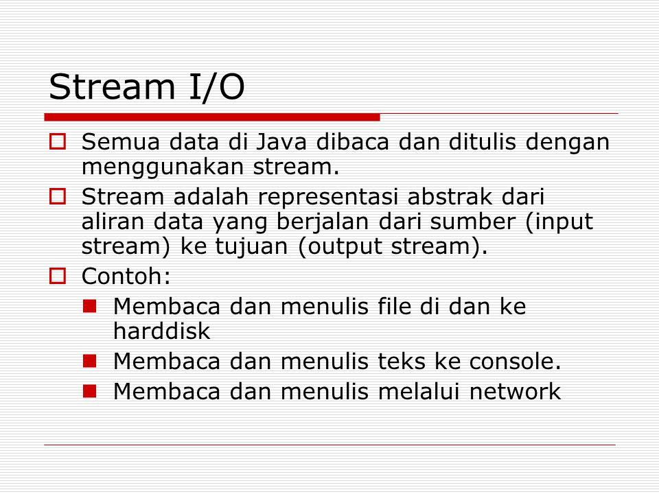 Stream I/O Semua data di Java dibaca dan ditulis dengan menggunakan stream.