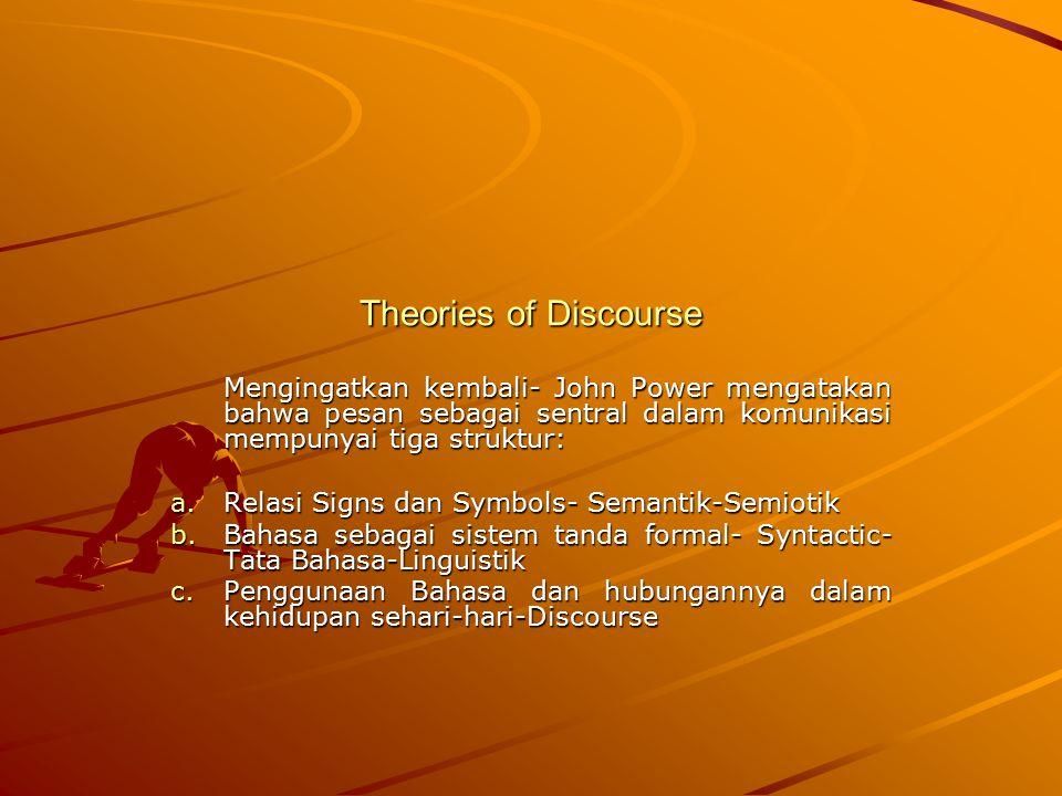 Theories of Discourse Mengingatkan kembali- John Power mengatakan bahwa pesan sebagai sentral dalam komunikasi mempunyai tiga struktur: