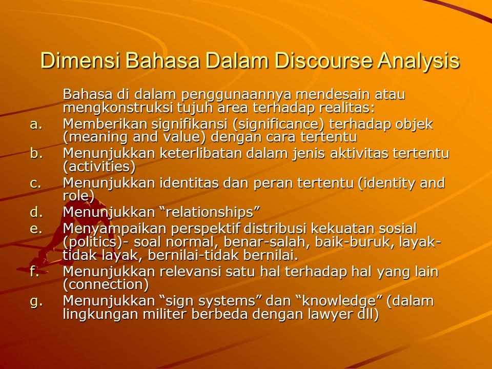 Dimensi Bahasa Dalam Discourse Analysis