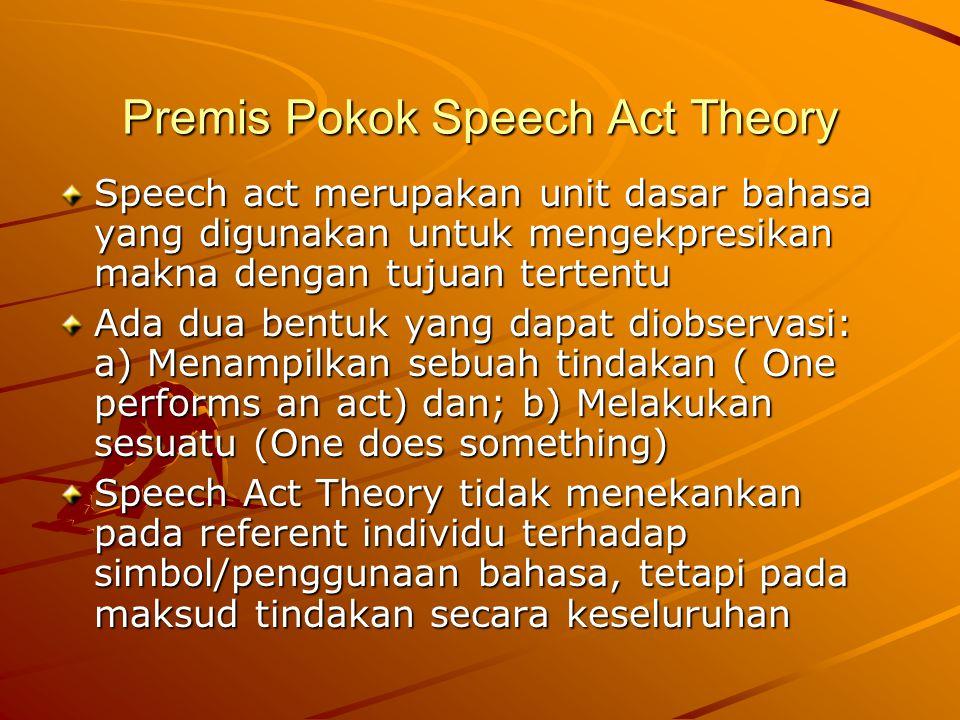 Premis Pokok Speech Act Theory