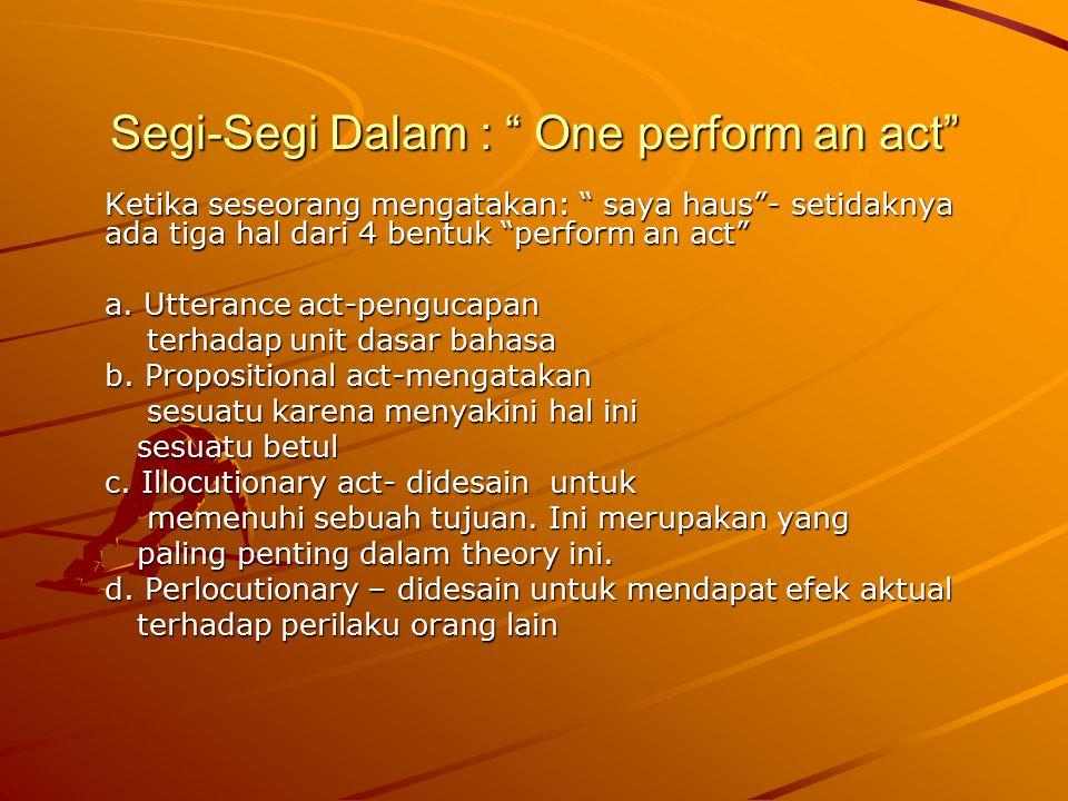 Segi-Segi Dalam : One perform an act