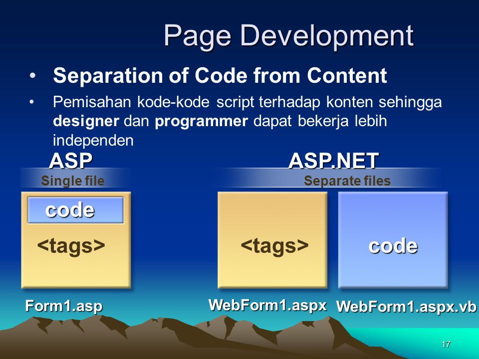 Page Development Separation of Code from Content ASP ASP.NET code