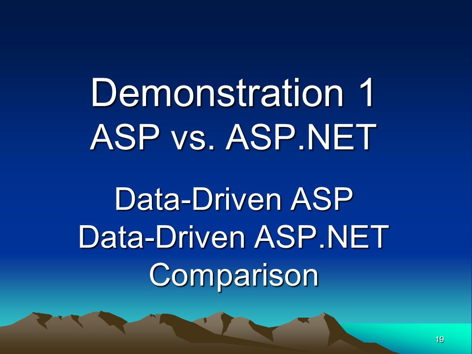 Demonstration 1 ASP vs. ASP. NET Data-Driven ASP Data-Driven ASP