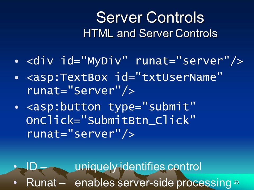Server Controls HTML and Server Controls